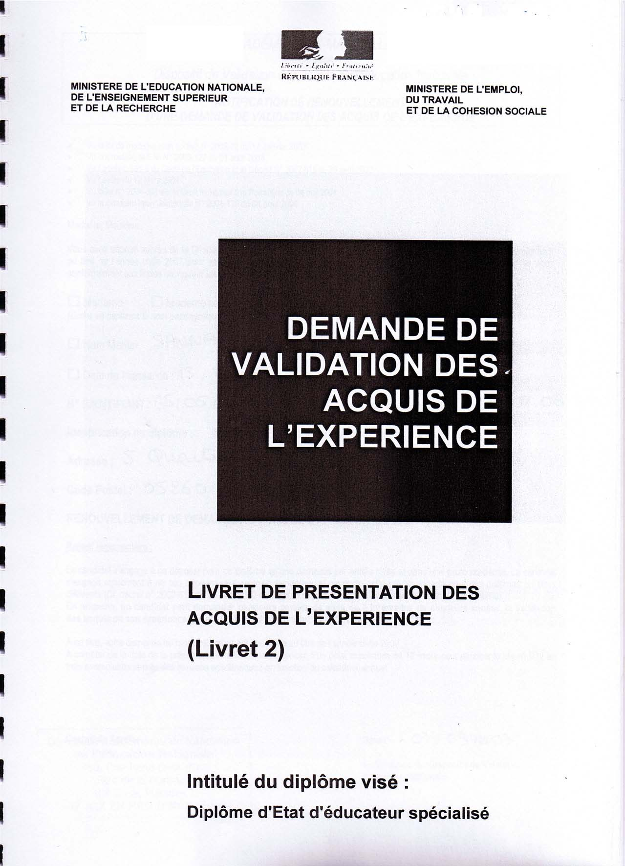 exemple de livret 2 vae educateur specialise